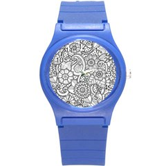These Flowers Need Colour! Round Plastic Sport Watch (S)