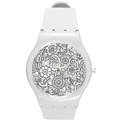 These Flowers Need Colour! Round Plastic Sport Watch (M)