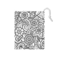 These Flowers Need Colour! Drawstring Pouches (Medium)