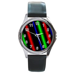 Multi Color Neon Background Round Metal Watch