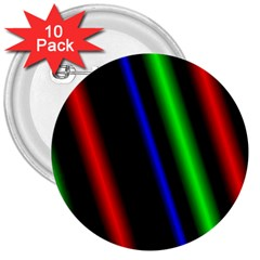 Multi Color Neon Background 3  Buttons (10 pack)
