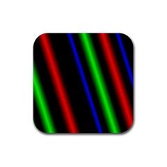 Multi Color Neon Background Rubber Square Coaster (4 pack)