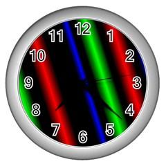 Multi Color Neon Background Wall Clocks (Silver)