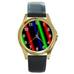 Multi Color Neon Background Round Gold Metal Watch