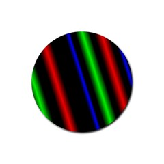 Multi Color Neon Background Rubber Round Coaster (4 pack)