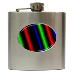 Multi Color Neon Background Hip Flask (6 oz)