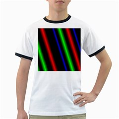 Multi Color Neon Background Ringer T-Shirts