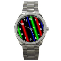 Multi Color Neon Background Sport Metal Watch