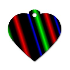 Multi Color Neon Background Dog Tag Heart (One Side)