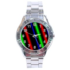 Multi Color Neon Background Stainless Steel Analogue Watch