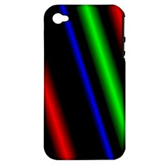 Multi Color Neon Background Apple iPhone 4/4S Hardshell Case (PC+Silicone)