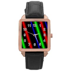 Multi Color Neon Background Rose Gold Leather Watch