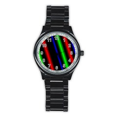 Multi Color Neon Background Stainless Steel Round Watch