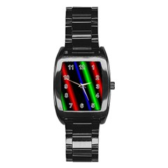 Multi Color Neon Background Stainless Steel Barrel Watch
