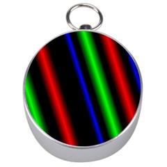 Multi Color Neon Background Silver Compasses