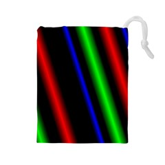 Multi Color Neon Background Drawstring Pouches (Large)