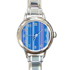 Color Stripes Blue White Pattern Round Italian Charm Watch
