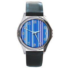 Color Stripes Blue White Pattern Round Metal Watch