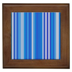 Color Stripes Blue White Pattern Framed Tiles