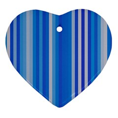Color Stripes Blue White Pattern Ornament (Heart)