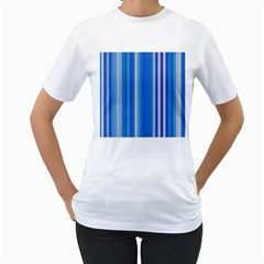 Color Stripes Blue White Pattern Women s T Shirt (white) (two Sided)
