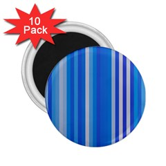 Color Stripes Blue White Pattern 2 25  Magnets (10 Pack)