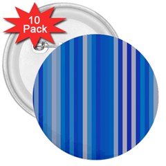 Color Stripes Blue White Pattern 3  Buttons (10 pack)