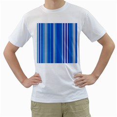 Color Stripes Blue White Pattern Men s T Shirt (white) (two Sided)