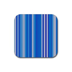Color Stripes Blue White Pattern Rubber Square Coaster (4 pack)