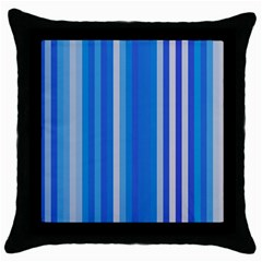 Color Stripes Blue White Pattern Throw Pillow Case (Black)