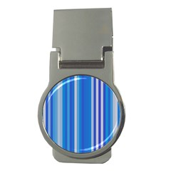 Color Stripes Blue White Pattern Money Clips (round)