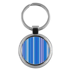 Color Stripes Blue White Pattern Key Chains (Round)