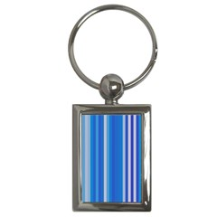 Color Stripes Blue White Pattern Key Chains (rectangle)