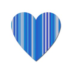 Color Stripes Blue White Pattern Heart Magnet