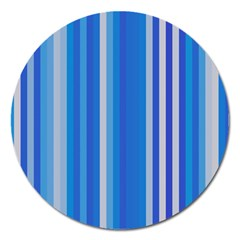 Color Stripes Blue White Pattern Magnet 5  (Round)