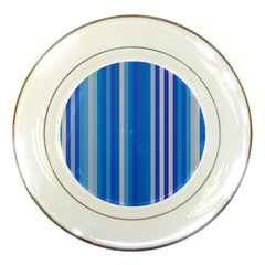 Color Stripes Blue White Pattern Porcelain Plates