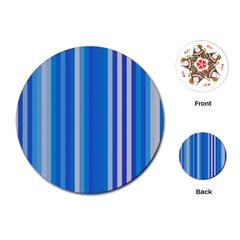 Color Stripes Blue White Pattern Playing Cards (round)