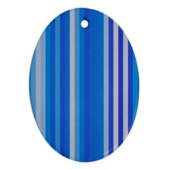 Color Stripes Blue White Pattern Oval Ornament (Two Sides)