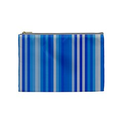 Color Stripes Blue White Pattern Cosmetic Bag (Medium)