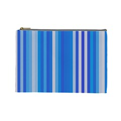 Color Stripes Blue White Pattern Cosmetic Bag (Large)