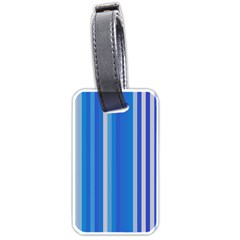Color Stripes Blue White Pattern Luggage Tags (One Side)