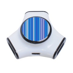 Color Stripes Blue White Pattern 3 Port Usb Hub