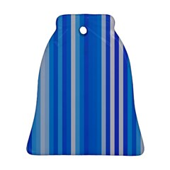 Color Stripes Blue White Pattern Bell Ornament (Two Sides)