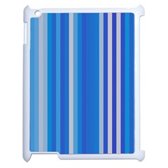 Color Stripes Blue White Pattern Apple iPad 2 Case (White)