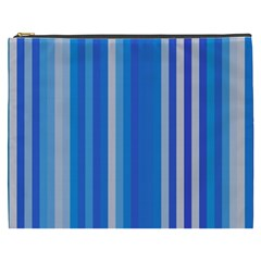 Color Stripes Blue White Pattern Cosmetic Bag (XXXL)