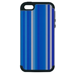 Color Stripes Blue White Pattern Apple iPhone 5 Hardshell Case (PC+Silicone)