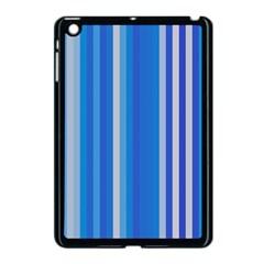 Color Stripes Blue White Pattern Apple iPad Mini Case (Black)