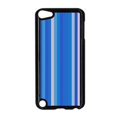 Color Stripes Blue White Pattern Apple Ipod Touch 5 Case (black)