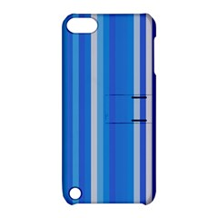 Color Stripes Blue White Pattern Apple iPod Touch 5 Hardshell Case with Stand