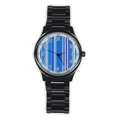 Color Stripes Blue White Pattern Stainless Steel Round Watch